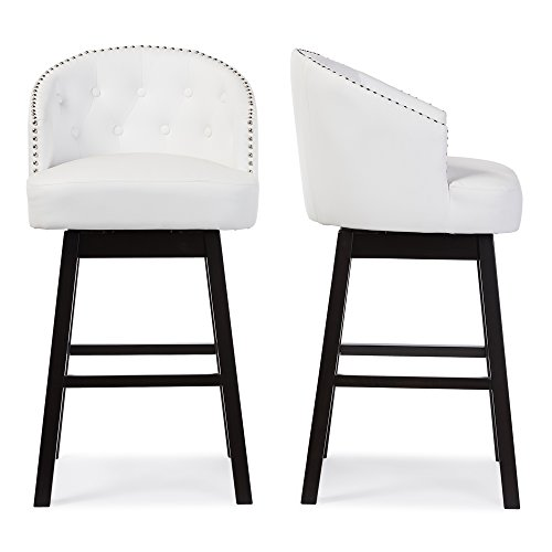 Baxton Studio Avril Modern & Contemporary Faux Leather Tufted Swivel Barstool with Nail Heads Trim (Set of 2), White (Tufted Leather Bar Stool)