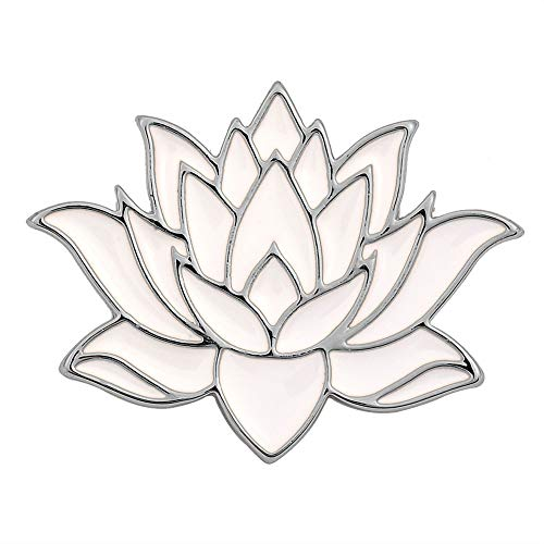 SENFAI 10K Gold Color Cute White Enamel Lotus Pin and Brooch - Silver Brooch Gold White