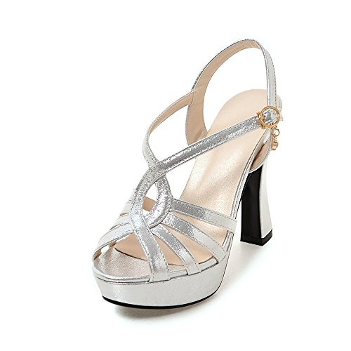 Meotina Women Sandals Platform High Heels Gladiator Shoes Crystal Wedding Shoes (US4=CN34=Foot Length 22cm, Silver)
