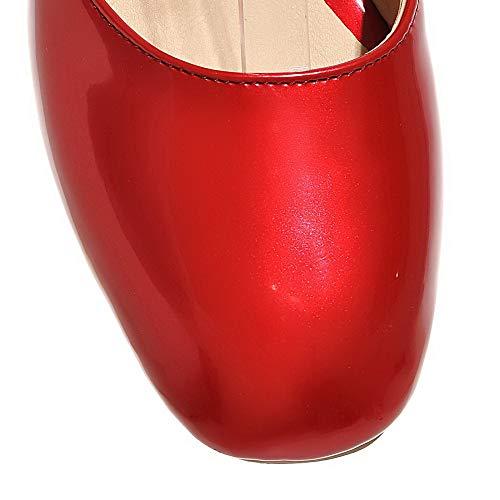TSFLH006008 à AalarDom Unie Cuir Sandales Femme Talon Rouge Bas Fermeture d'orteil PU Couleur qxFPRxwat