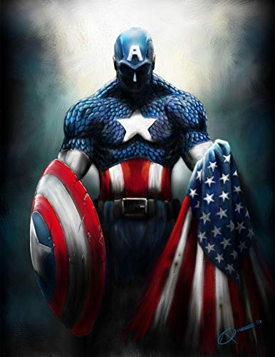 Marvel Captain America Iron On Transfer for T-Shirts & Other Light Color Fabrics #3 Divine Bovinity (Diy Captain America Shirt)