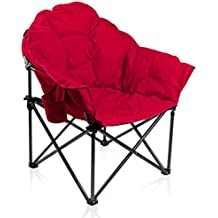 ALPHA CAMP Oversized Moon Saucer Chair with Folding Cup Holder and Carry Bag