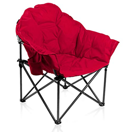 - ALPHA CAMP Oversized Moon Saucer Chair with Folding Cup Holder and Carry Bag - Red