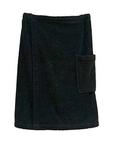TowelSelections Men's Wrap, Shower & Bath, Terry Spa Towel Large/X-Large Black