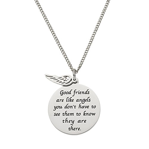Pendant 18' Curb Chain (Good Friends Are Like Angels...Friendship Pendant Necklace 18' Curb Chain)