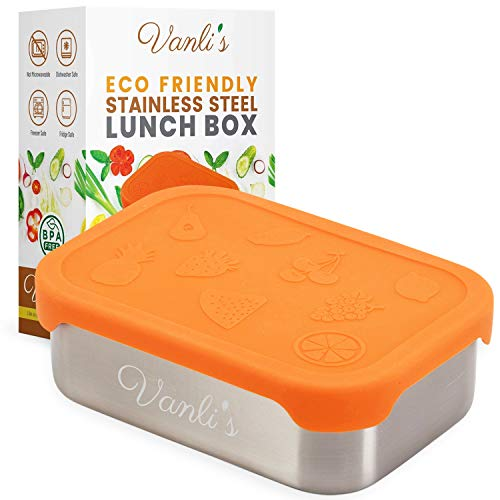 (Vanli's Stainless-Steel Bento Lunch Box for Kids & Adults | Meal Prep, Sandwich & Snack Metal Food Container with Orange Silicone Lid | Leak-Proof, Non-Insulated & FDA Food Grade | 7 x 5 x 2.4 Inches )