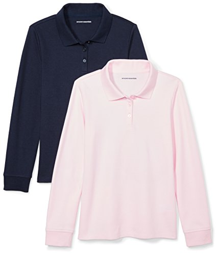 Amazon Essentials Big Girls' 2-Pack Long-Sleeve Interlock Polo Shirt, Navy/Light Pink, M (8)