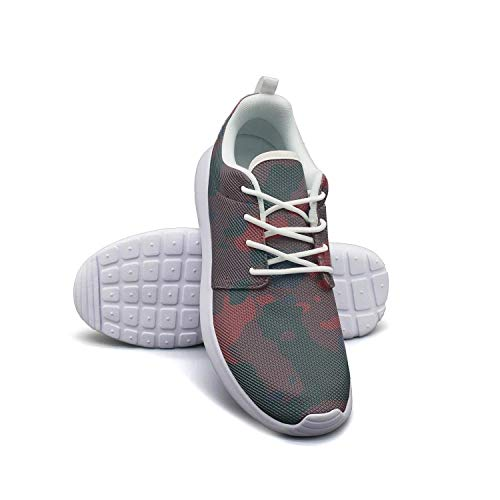 LOKIJM Camo Army Camouflage Woodland White Sneakers for Women Slip Lightweight Best Running Shoes ()