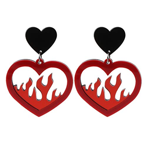 Shanery Acrylic Red Heart Fire Dangle Earrings Pendant Statement Women Fashion Jewelry -
