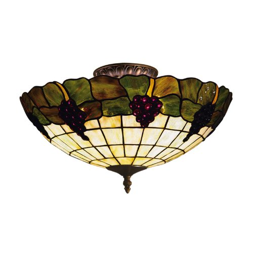 Grapevine Tiffany Three Light - ELK Lighting 931-VA Grapevine Tiffany 3-Light Semi-Flush Mount, Vintage Antique