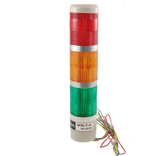 uxcell AC/DC 24V Industry Tower Signal Safety Stack Indicator Alarm Light