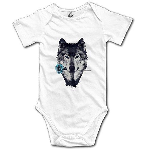 Blue Rose Wolf Baby Infant Bodysuit - Short Sleeve Onesie Romper White ()