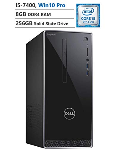 - Dell Inspiron Business Desktop, Intel Core i5-7400 3.00GHz Processor (6MB Cache, Up to 3.50GHz), Intel HD Graphics 630, 8GB Memory, 256GB Solid State Drive, Windows 10 Pro, Black