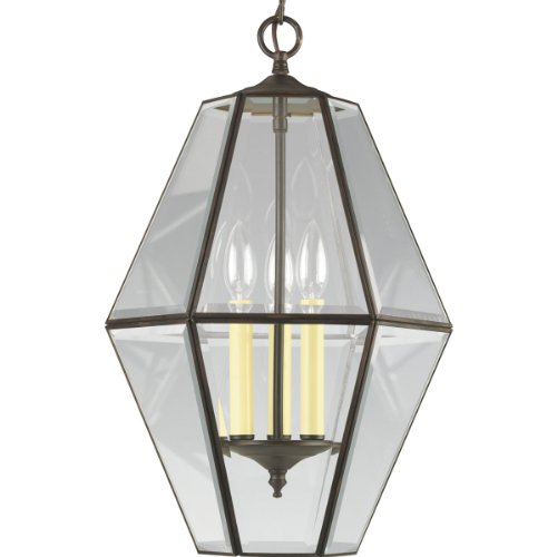 Progress Lighting P3716-20 6-Sided Foyer Fixture with Clear Bound Beveled Glass, Antique Bronze ()