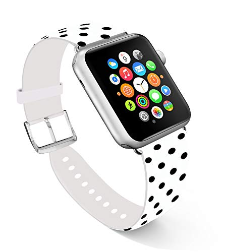 for Apple Watch Band 38mm, Replacement Band Leather Iwatch Strap with Silver Metal Clasp for iWatch 38mm Black and White Dots Beautiful Patterns