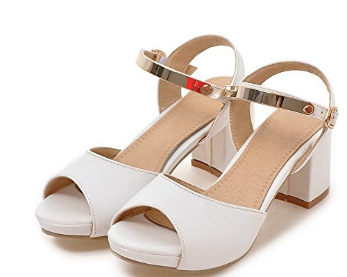 Solid Open PU White Sandals Kitten WeenFashion Toe Women's Buckle Heels 54wpnXpfqO