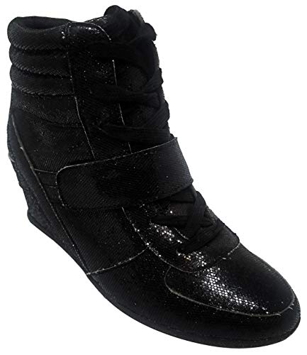Top Cute Pretty Bedazzle Studded Small Feet Hightop Laced Up W Heels Boot Shoe for Women Teen Girl (Black Size 6)