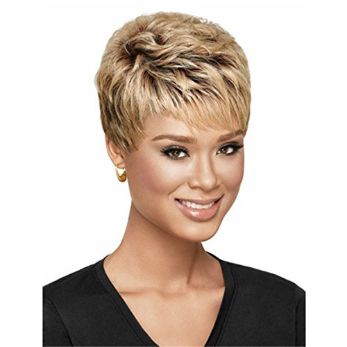 YX Synthetic wigs Short Hair Wavy Blonde Wig with Choppy Face-framing Bangs for Women