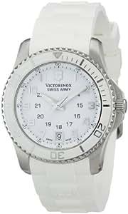 Victorinox Swiss Army - Reloj analógico de cuarzo para mujer con correa de caucho, color blanco
