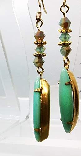Light Green Turquoise Color Large Navette Vintage Rhinestone Austrian Crystal 2 1/4