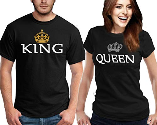 CRAZYDAISYWORLD King & Queen Couple T-Shirt for Him & Her