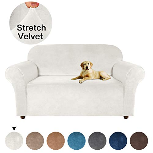 Turquoize Velvet Loveseat Cover, Loveseat Slipcover One Piece for Leather Couch Cover High Spandex Sofa Slipcover for Dogs with Anti-Slip Foams, Washable Furniture Cover/Protector (Loveseat, Ivory) (Best Slipcovers For Dogs)