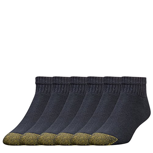 Gold Toe Men's 6 Pair Cotton Quarter Extended Sock, Black, 13-15