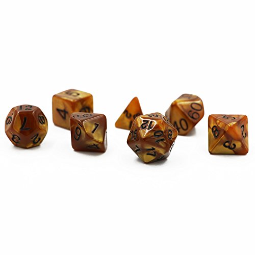 - Dungeons & Dragons 7pcs/set Creative Multi-faceted D&D Colorful Multicolor Dice DND Marble Pattern Gold Color