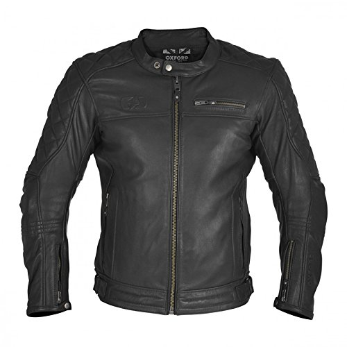 (Oxford Route 73 Leather Jacket, Black (XL))