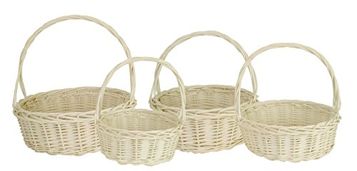 Wald Imports White  Willow  Decorative Nesting Storage Baskets, Set Of 4