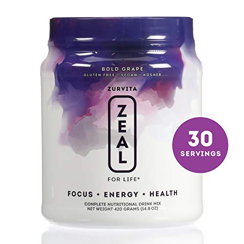 Zurvita Zeal for Life 30 Day Wellness Canister, Bold Grape, 420 Grams | Super Greens Powder Boosts Energy, Reduces Inflammation, and Assists Immune System (Benefits Of Quitting Drinking For 30 Days)