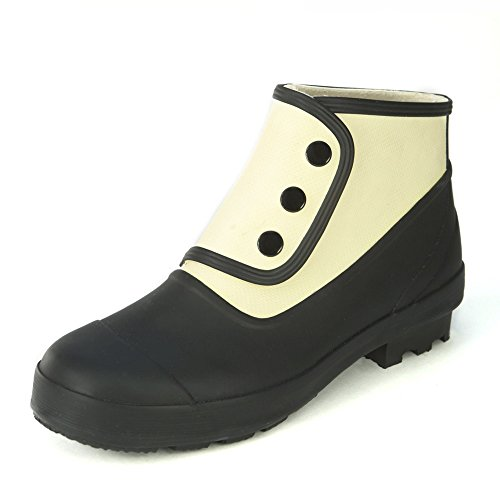 Spats Womens Classic Ankle Spats - Matte Black and Antique White USA 6 (Eu 37) Matte Black /Antique (Spat Boots)