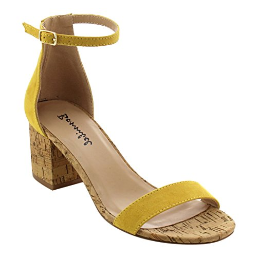 Sky SHOP Womens Fashion Casual Outdoor Denim Buckle Ankle Strapped Block Thick High Heel Dress Sandals (9 B(M) US, Yellow)