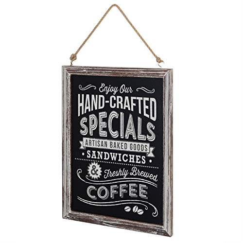 - MyGift 24-Inch Torched Wood Wall-Mounted Chalkboard Sign with Hanging Rope