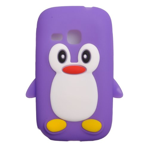 Einzige Slim Fit Flexible TPU Silicone Skin Cover Case for Samsung Galaxy Young S6310N Galaxy Young DUOS S6312 with Premium Universal Stylus/Pen (Purple Penguin)