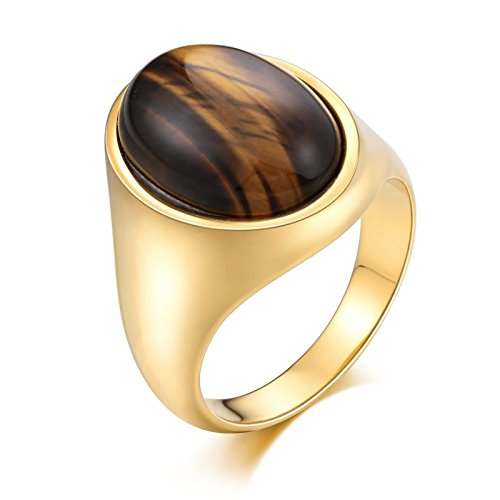 Epinki Stainless Steel Vintage Rings for Men High Gloss Polished Oval Opal 21MM Gold Brown Ring Size 12