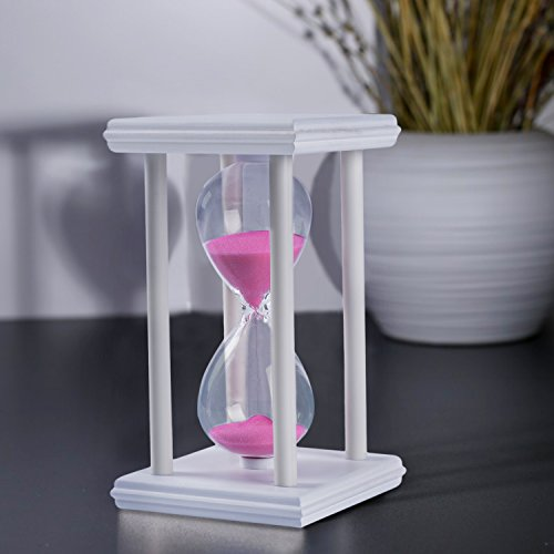 15 Minutes Wooden Sandglass White Wood Frame Sand Timer Sand Clock Time Management Tool Home Office Decor Creative Gift