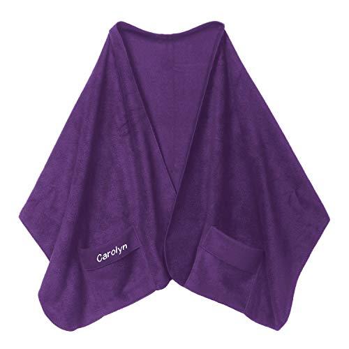 Custom Embroidered Pocket Shawl - Personalized Fleece Scarf - Purple ()