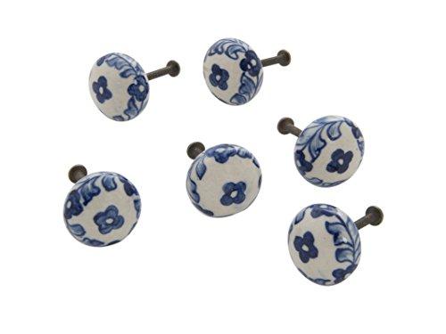 Dritz Home 47048A Ceramic Small Delft Ball Knob, Blue -