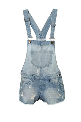 NEW GIRLS KIDS DENIM DUNGAREE OUTFIT SHORTS DRESS JUMPSUIT PARTY SIZE 7-14 YEARS by Generic