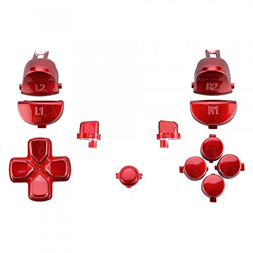 Beracah L2 R2 R1 L1 Dpad L1 ABXY Full Set Plating Buttons for PS4 Pro Slim Controller CUH-ZCT2 JDM-040 (Red)