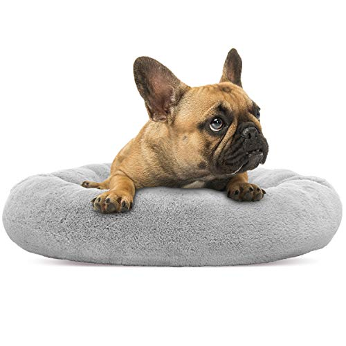 Donut Small Dog Bed - SHU UFANRO Small Dog Bed Round Puppy Bed Orthopedic Soft Pet Bed Pillow Donut Cuddler Washable Cat and Dog Cushion Bed (23