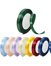 Satin Ribbon Roll, 8 Pcs 25 Yard Color Satin Ribbon Narrow Fabric Used for Tying Packages (8 Colors)