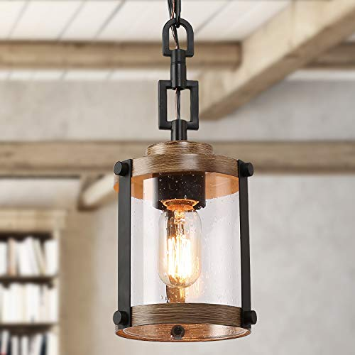 LOG BARN Pendant Lighting for Kitchen Island, Farmhouse Mini Chandelier in Faux Wood Metal with Bubbled Glass Shade…