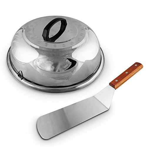Stainless Steel Hamburger Turner (Large Cheese Melting Dome, Flat Grill Melt Basting Cover Domes, Grill Lid Steam Cover, Silver Cheese Melt's Dome + FREE Hamburger Turner Spatula, Burger Griddle stainless steel wood flipper)