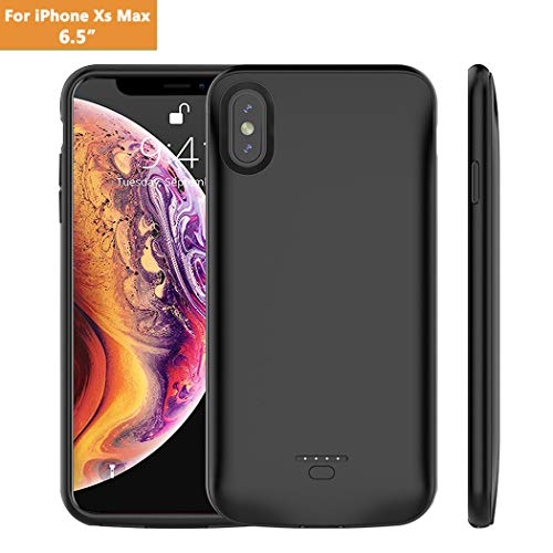 iPhone Xs Max Battery Case, Euhan 5000mAh Rechargeable Power Charging Case for iPhone Xs Max(6.5 inch) Extended Battery Pack Protective Ultra Thin Charger Case-Black