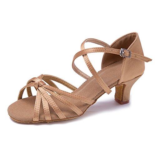 Roymall Kvinna Beige Satin Latin Dansskor Sällskaps Salsa Tango Prestanda Skor, Modell Wzjcl-5,7 B (m) Oss