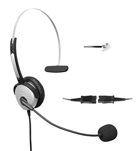 4Call K500QCMB Mono RJ Telephone Headset Headphone + Noise Canceling Mic + Quick Disconnect + Volume Control for Plantronics M10 M22 Vista Adapter and Cisco 7975 9971 Office Landline Desk IP Phones Mono Overhead Telephone Headset
