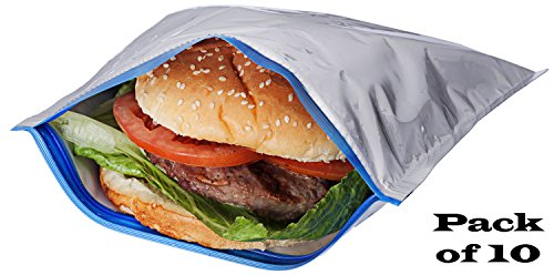 Pack of 10 Insulated Sandwich Bags / Will Keep Sandwiches From Becoming Spoiled, No Matter The Weather!!! (10)