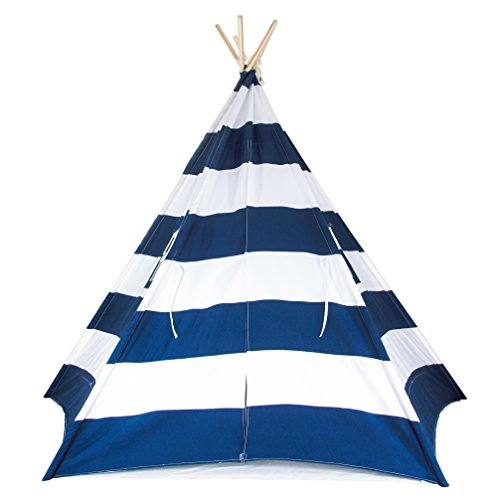 A Mustard Seed Toys Large Kids Teepee Tent, Big Enough for The Whole Family, 100% Natural Cotton Canvas Tent with Carrying Case, No Extra Chemicals (Navy) by A Mustard Seed Toys (Image #1)